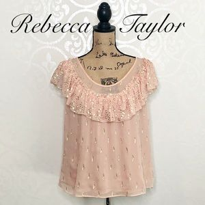 REBECCA TAYLOR PINK AND GOLD SILK TOP SIZE 8